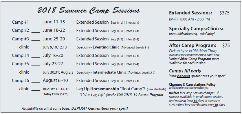 2018 Summer Camps - dates
